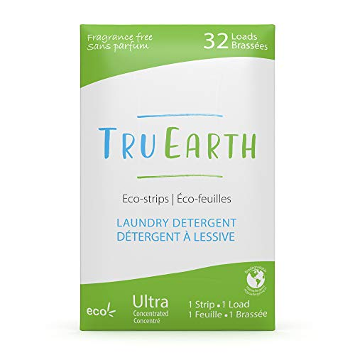 Tru Earth Hypoallergenic, Eco-friendly & Biodegradable Plastic-Free Laundry Detergent Eco-Strips for Sensitive Skin (32 Loads, Fragrance-Free)