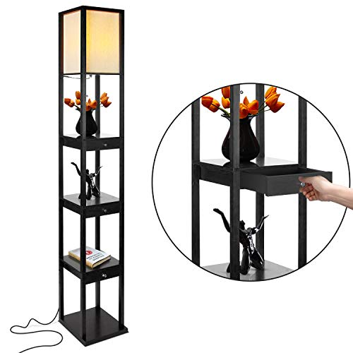 Brightech Maxwell Drawer Edition - Shelf & LED Floor Lamp Combination - Narrow Nightstand with Light Attached - Tower End or Side Table for Office & Bedroom - Black