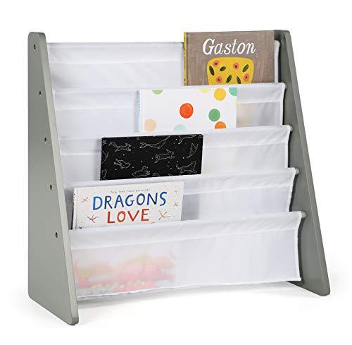 Humble Crew, Grey/White Kids Book Rack Storage Bookshelf, 4 Tiers