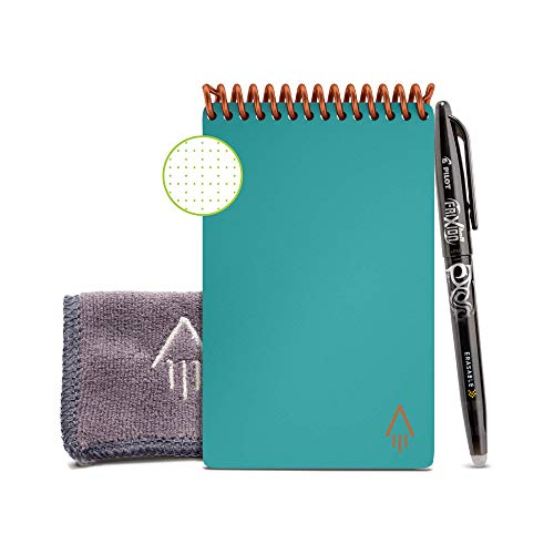 Rocketbook Smart Reusable Notebook - Dotted Grid Eco-Friendly Notebook with 1 Pilot Frixion Pen & 1 Microfiber Cloth Included - Neptune Teal Cover, Mini Size (3.5' x 5.5')