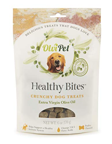 OlviPet Healthy Bites Olive Oil Based Crunchy Treats for Dogs 6 oz Package