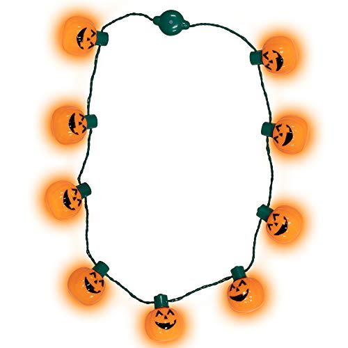 Windy City Novelties LED Light Up Halloween Pumpkin Jack O Lantern Necklace Party Favors