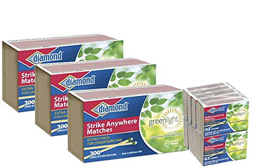 Strike Anywhere Matches Value Pack-3 Large Size Packs & 1 Small Size Pack of Diamond STRIKE ANYWHERE MATCHES for Kitchen, Camping, Hiking, Survival, Indoor, Outdoor, Value Pack by Autumn Green Shop