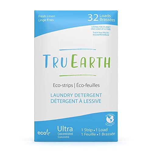 Tru Earth Hypoallergenic, Eco-friendly & Biodegradable Plastic-Free Laundry Detergent Eco-Strips for Sensitive Skin (32 Loads, Fresh Linen)