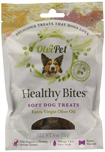 OlviPet Healthy Bites Olive Oil Based Soft Treats for Dogs, 6 oz Package, Green