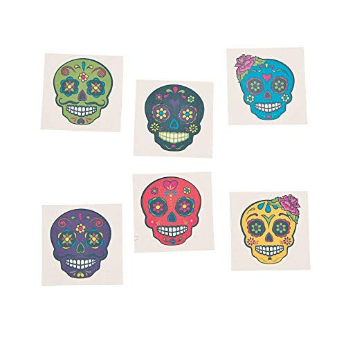 SUGAR SKULL TEMPORARY TATTOOS - Apparel Accessories - 72 Pieces