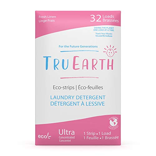 Tru Earth Hypoallergenic, Eco-friendly & Biodegradable Plastic-Free Baby Laundry Detergent Eco-Strips for Sensitive Skin (32 Loads, Baby)