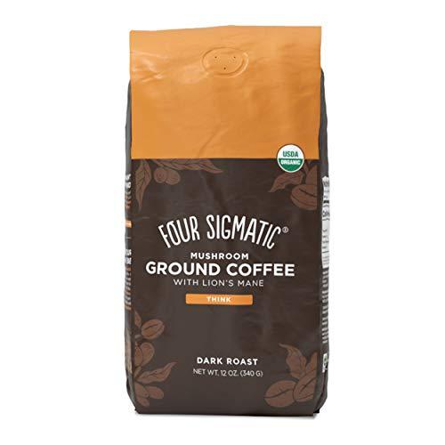Four Sigmatic Mushroom Ground Coffee, Organic and Fair Trade Coffee with Lions Mane, Chaga, & Mushroom Powder, Focus & Immune Support, Paleo, 12 Oz