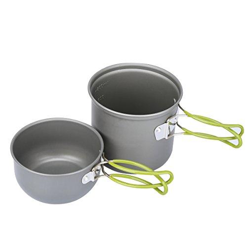 G4Free Outdoor Camping pan Hiking Cookware Backpacking Cooking Picnic Bowl Pot Pan Set 4 Piece Camping Cookware Mess Kit(2 PCS-Green)