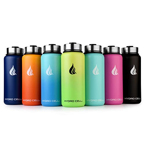 HYDRO CELL Stainless Steel Water Bottle with Straw & Wide Mouth Lids (32oz) - Keeps Liquids Perfectly Hot or Cold with Double Wall Vacuum Insulated Sweat Proof Sport Design (Black 32oz)