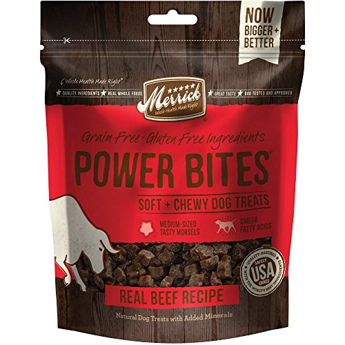 Merrick Power Bites All Natural Grain Free Gluten Free Soft & Chewy Chews Dog Treats Real Texas Beef