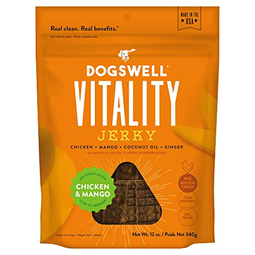 DOGSWELL Vitality Chicken & Mango Jerky - Meaty Dog Treats with Mango, Coconut Oil & Ginger to Support Overall Health & Vitality - 12 oz. (29278)