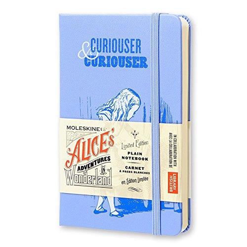 Moleskine Limited Edition Alice in Wonderland Notebook, Hard Cover, Pocket (3.5' x 5.5') Plain/Blank, Powder Blue