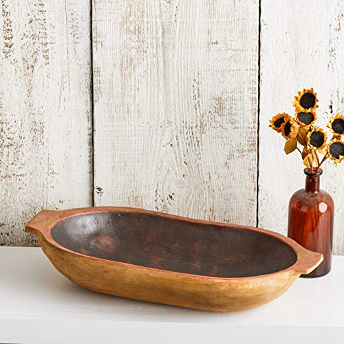 Rustic Dough Bowl, table centerpiece, vintage replica bowl, farmhouse chic, spring centerpiece, cottage chic, dough trencher bowl