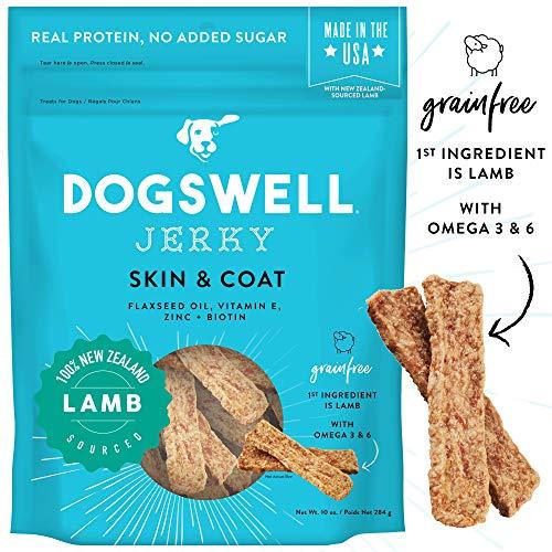 Dogswell Jerky Skin and Coat – Real Lamb Jerky Dog Treats with Skin & Coat Support (10 oz. Lamb)