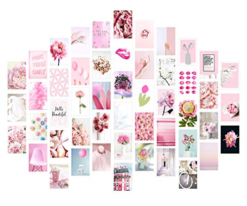 Pink Collage Kit - Wall Collage Kit Aesthetic - Aesthetic Room Decor for Teen Girls - Blush Pink Wall Decor - Styled Dorm Room Art - Apartment Artwork - Set of 50 Luster Photos - 4 x 6 - UNFRAMED