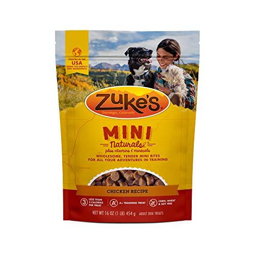 Zuke's Natural Training Dog Treats; Mini Naturals Recipe; Made in USA Facilities, 16 oz, Chicken Recipe