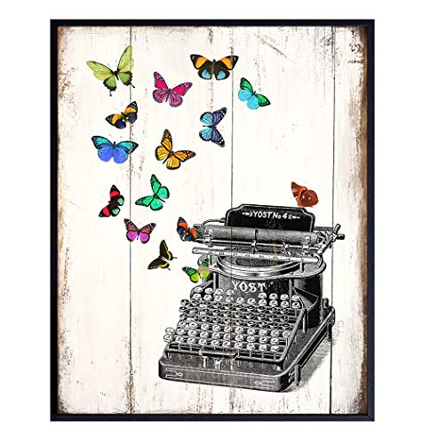 Typewriter Butterfly Home Decor, Wall Art - Cute Rustic Shabby Chic Decoration for Living Room, Bedroom, Bathroom, Kitchen - Vintage Wood Style Poster or Gift for Writer, Literature Fan- 8x10 UNFRAMED