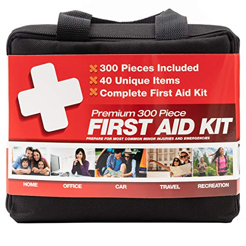 M2 BASICS 300 Piece (40 Unique Items) First Aid Kit | Emergency Medical Supply | for Home, Office, Outdoors, Car, Survival, Workplace