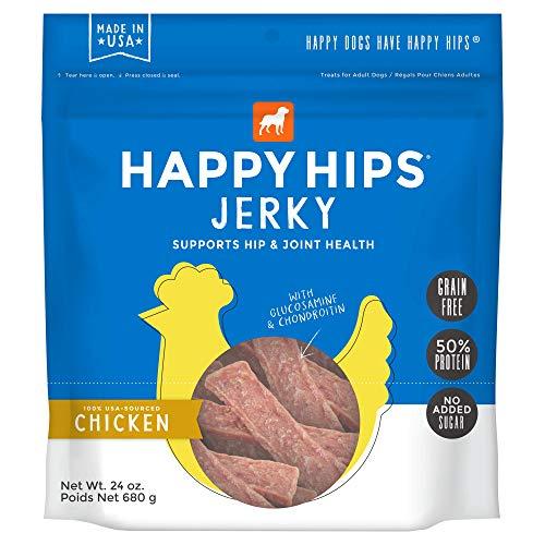Happy Hips Chicken Jerky, Grain Free Dog Treats with Glucosamine & Chondroitin, Made in USA, 24 oz