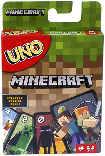 Mattel Games UNO Minecraft Card Game, Now UNO fun includes the world of Minecraft, Multicolor, Basic Pack