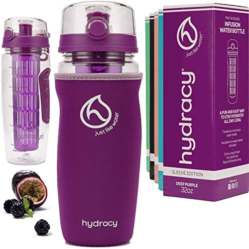 Hydracy Fruit Infuser Water Bottle - 32 oz Sports Bottle - Insulating Sleeve, Time Marker & Full Length Infusion Rod + 27 Fruit Infused Water Recipes eBook Gift - Deep Purple