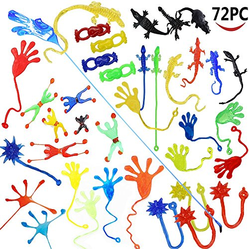 Wankko 72 Pieces Vinyl Stretchy Sticky Toy Assortment Including 12 Wall Climber Men, 12 Sticky Animals, 12 Large Sticky Hands, 12 Sticky Hammers, 12 Stretchy Flying Frogs and 12 Sticky Frogs