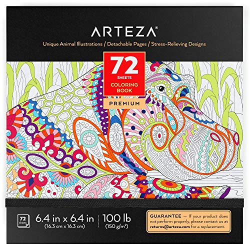 Arteza Coloring Book for Adults, Animal Illustrations, Gray Outlines, 72 Sheets, 100 lb, 6.4x6.4 Inches, for Anxiety, Stress Relief & Relaxing, Detachable Pages