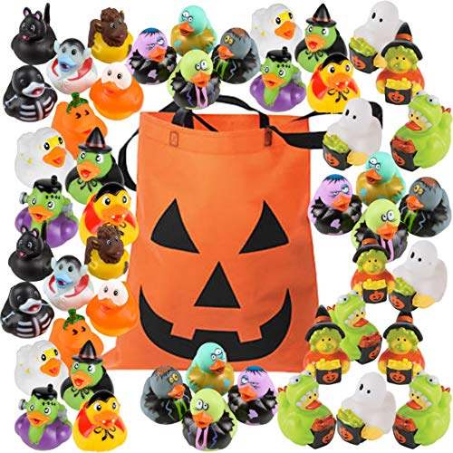 Halloween Rubber Duckies - Bulk Variety Pack Bundle (48 Rubber Ducks + 1 Jack O Lantern Tote Bag) - Trick or Treat Costume Ducks - Zombies, Dracula, Werewolf, Frankenstein, Black Cat, Pumpkin, Ghost, Skeleton, Witch - Handouts, Toy Prizes, Table Decorations