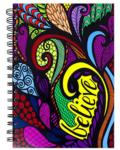 ColorIt Hard Cover Double Spiral Notebook 200 Lightly Lined Pages, 6x8.5 Journal, Planner, Log Book, Diary, Hand Drawn Doodle Design'Believe' Journal