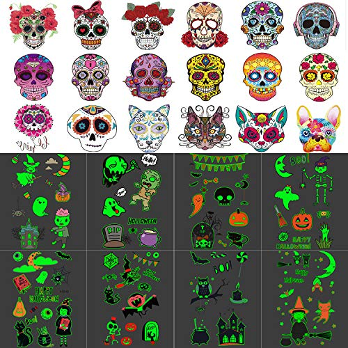 26 Sheets (Over 80 Pcs and Two Different Styles) Halloween Glow in the Dark Temporary Tattoo Sticker, Day of the Dead Sugar Skull Temporary, Halloween Tattoos for Kids