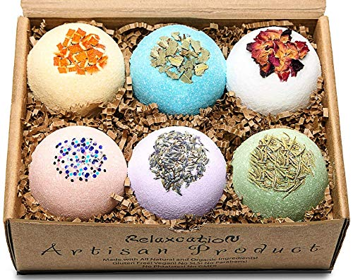 Handmade Organic Bath Bombs Gift Set For Women All Natural with Epsom Salt Relaxation Dead Sea Salt - Natural and Safe Bath Bombs Kit for Kids Her Mom Mother Grandma Girlfriend - Best Gifts Idea