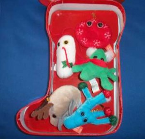 GIANTmicrobes Holiday Stocking Ornament Set