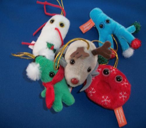 100 1812 GIANTmicrobes Holiday Stocking Ornament Set