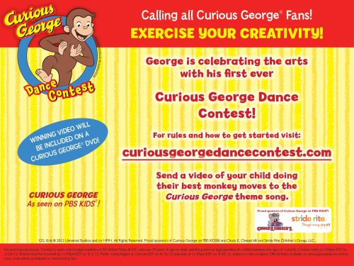CG DanceContest PromoPagev.2 Celebrate the Arts With Curious George's First Ever Dance Contest!