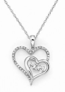 "Helzberg Diamonds Sterling Silver and Diamond ""Mom"" Heart Necklace"