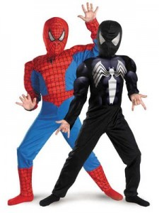 6948 Red to Black Spiderman costume Reversible Spiderman Costume for the Kid That Can't Decide!