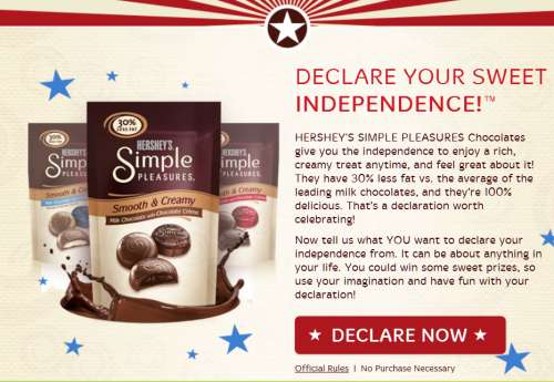 Declare Declare Your Sweet Independence With Hershey's Simple Pleasures