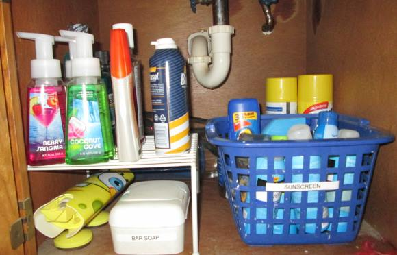 Organize your beauty supplies using baskets