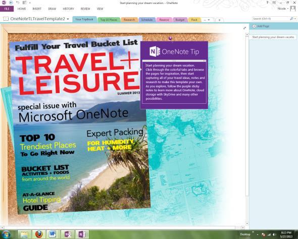 OneNote Travel Planner