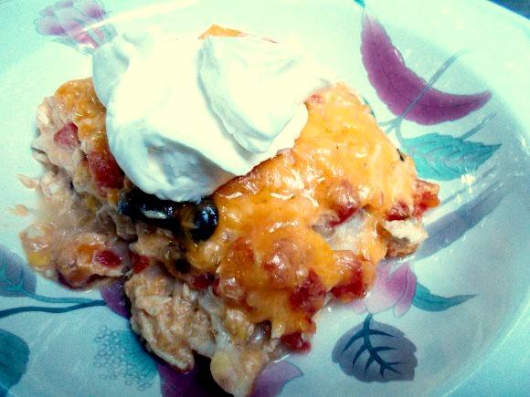 Super Cheesy Tex Mex Creamy Chicken Casserole