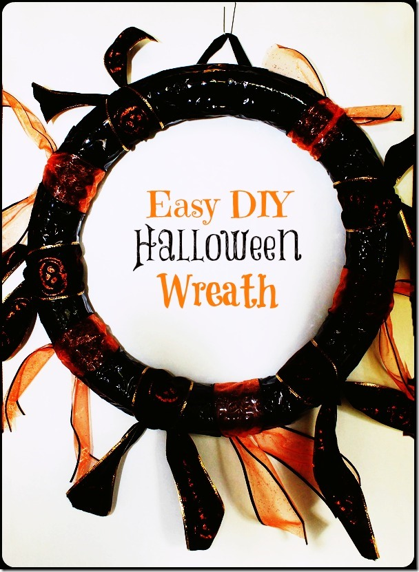 DIY Halloween Wreath Project, costs about $4 to make and looks so cute! | PrettyOpinionated.com