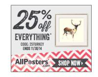 Countdown to Christmas Deals: 25% off AllPosters.com til 11/30
