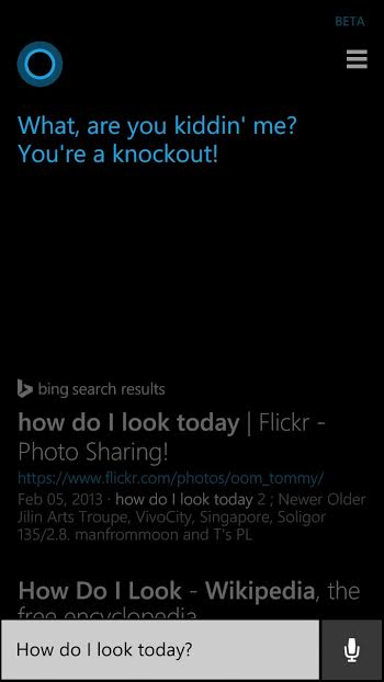 Cortana tells me how I look today