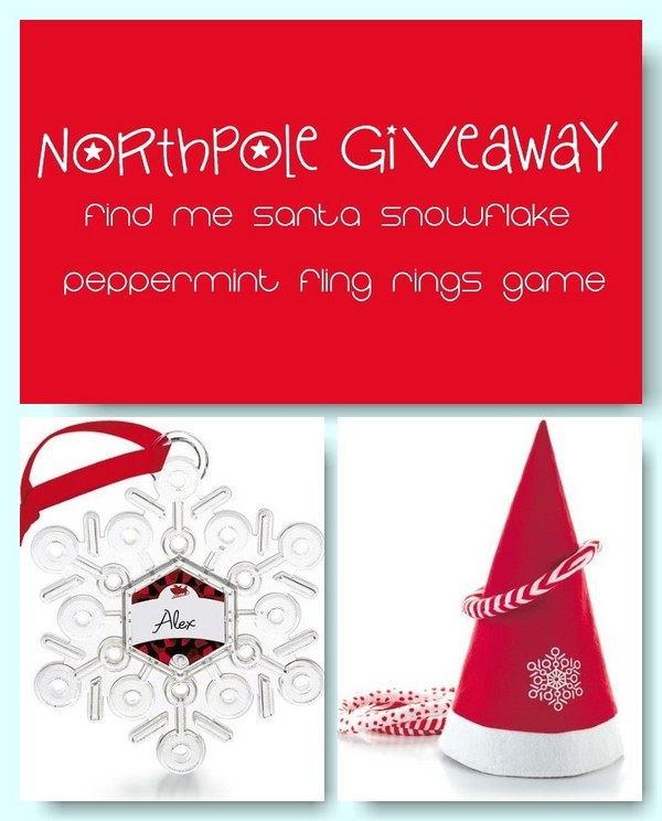 Enter for a chance to win the Find Me Santa! Snowflake I reviewed  AND another cool Northpole movie goodie: the Peppermint Fling Rings Game!