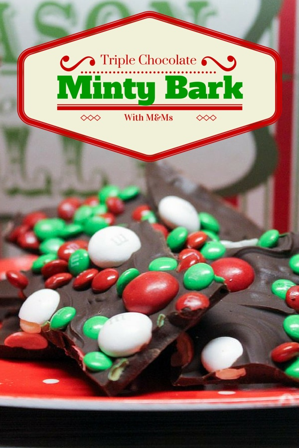 Make this delicious Triple Chocolate Minty Bark recipe with White Chocolate Peppermint M&Ms. Keep some for yourself and give some away! Makes a fabulous handmade gift idea!