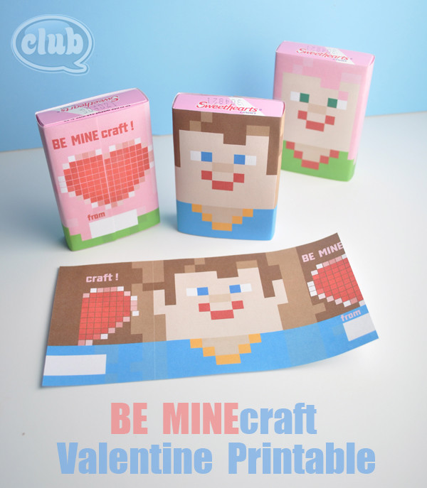 BE-MINEcraft-Valentines-candy-printable -Absolutely Darling Free Valentine's Day  Printables