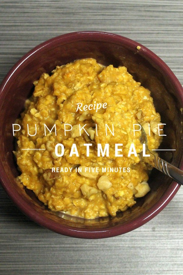 Warm up with a hearty bowl of pumpkin pie oatmeal! Takes just five minutes to make, yet tastes just like real pumpkin pie. Super easy recipe for moms!