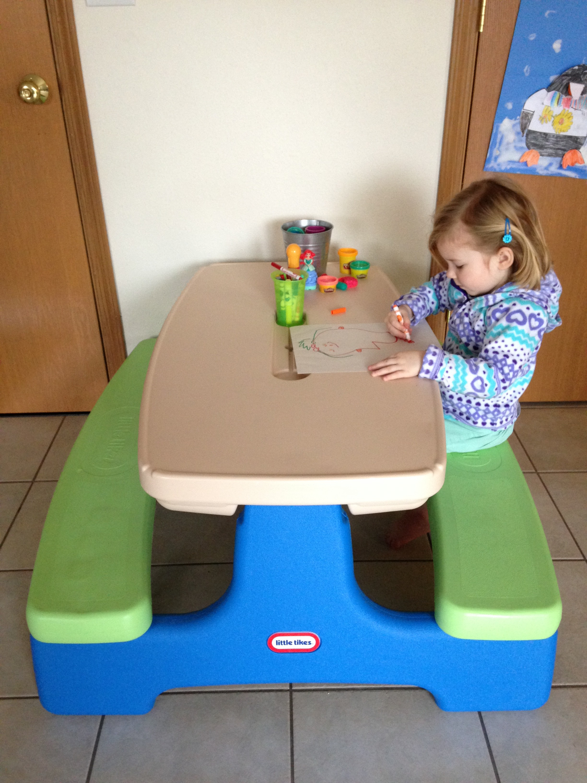 Little Tikes Easy Store Picnic Table for Indoor & Outdoor Fun