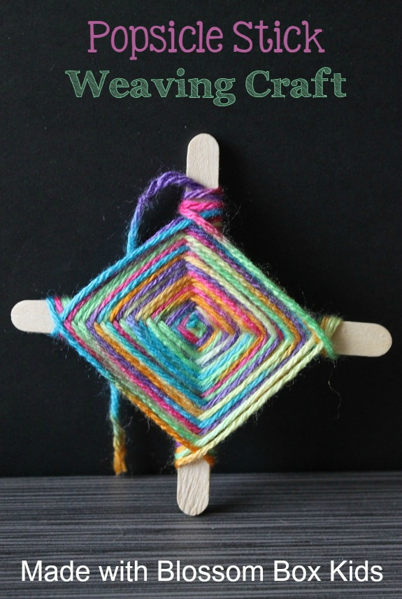 Make an easy weaving craft out of Popsicle sticks and colorful yarn with the supplies and directions from Blossom Box Kids.